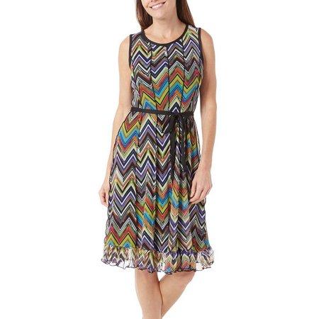 ILE NY Womens Tie Waist Chevron Mesh Dress