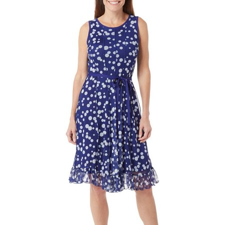 ILE NY Womens Dotted Tie Waist Dress
