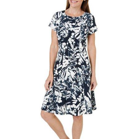 New! ILE NY Womens Panel Tropical Ottoman Dress