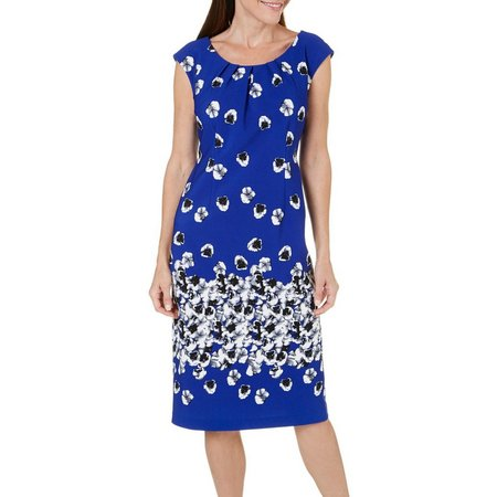 ILE NY Womens Pleated Neck Floral Ottoman Dress