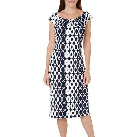 ILE NY Womens Pleat Neck Circle Print Dress