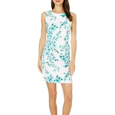 AGB Womens Floral Sleeveless Shift Dress