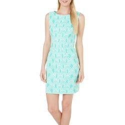 AGB Womens Printed Sleeveless Sheath Dress