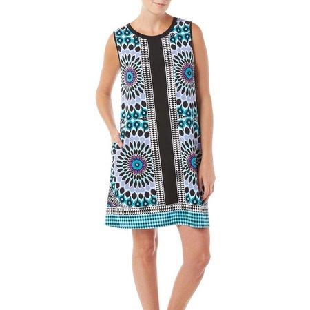AGB Womens Palm Print Sharkbite Hem Shift Dress