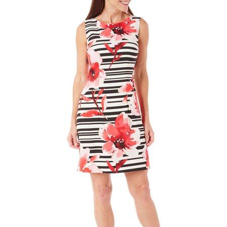 AGB Womens Floral Striped Sheath Dress