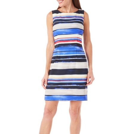 AGB Womens Brushstroke Stripe Print Sheath Dress