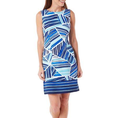 AGB Womens Geo Striped Printed Sheath Dress