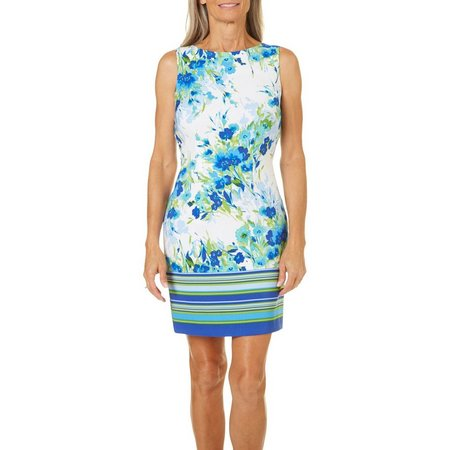AGB Womens Floral Striped Sheath Dress