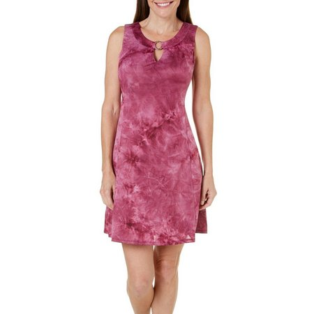AGB Womens Sleeveless Keyhole Tie Dye Dress