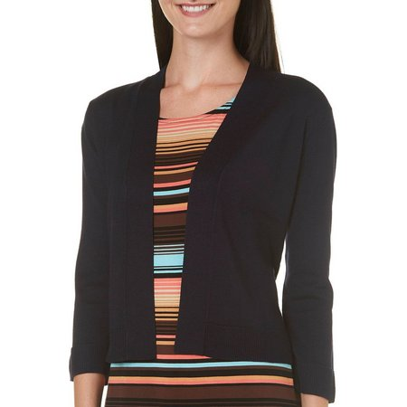 89th & Madison Womens Open Front Ribbed Trim
