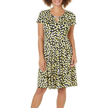 Sami & Jo Womens Checker Print Panel Dress