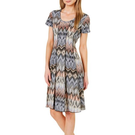 Sami & Jo Womens Chevron Panel Print Dress