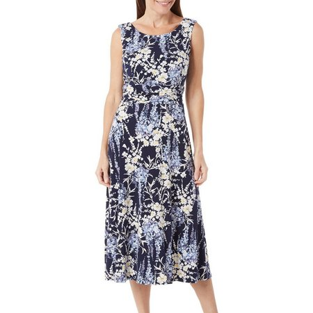 Connected Apparel Womens Floral Ruched Waist Dress