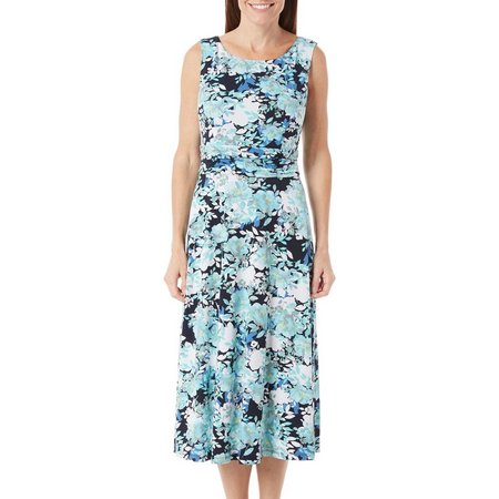 Connected Apparel Womens Floral Ruch Waist Dress