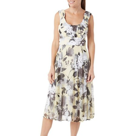 Connected Apparel Womens Floral Ruch Chiffon Dress