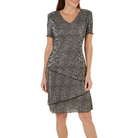Connected Apparel Womens Wavy Print Bodre Dress