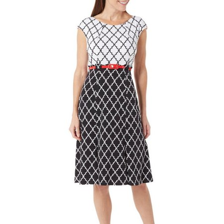 Connected Apparel Womens Lattice Print Dress