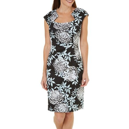 New! Connected Apparel Womens Floral Print Sheath Dress