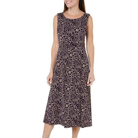 Connected Apparel Womens Print Mix Midi Dress
