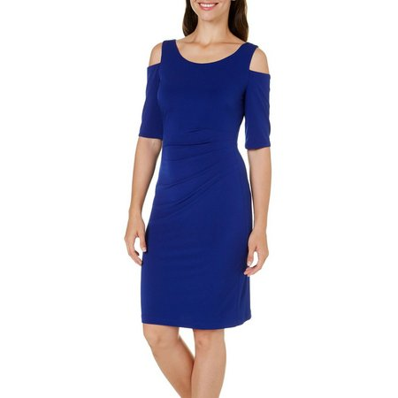 Connected Apparel Womens Cold Shoulder Solid Dress
