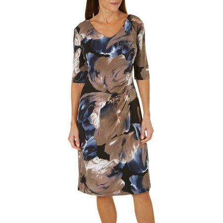 Connected Apparel Womens Floral Side Ruched Dress