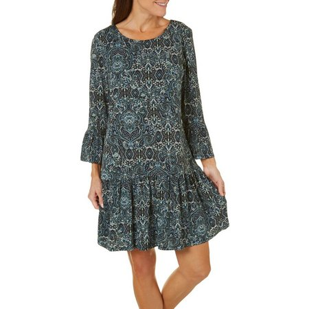 Connected Apparel Womens Paisley Drop Waist Dress