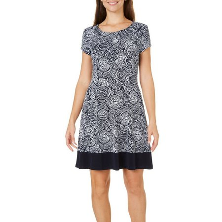 Connected Apparel Womens Printed Solid Border Dress