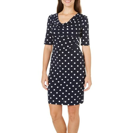 Connected Apparel Polka Dot Print Dress