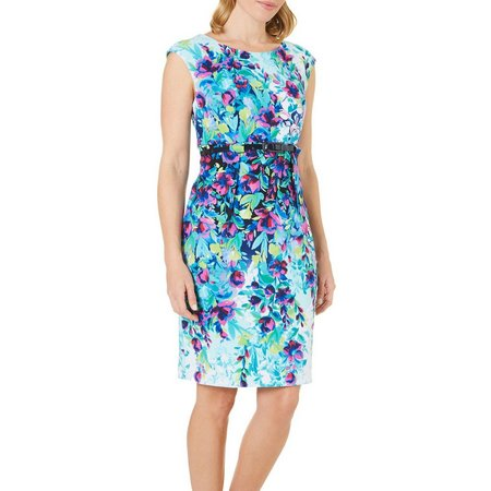 Connected Apparel Womens Floral Print Belted Dress