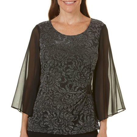 Connected Apparel Shimmer Floral Sheer Sleeve Top