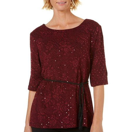 Connected Apparel Womens Sequin Tie Waist Top