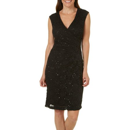 Connected Apparel Womens Sequins Lace Faux-Wrap Dress