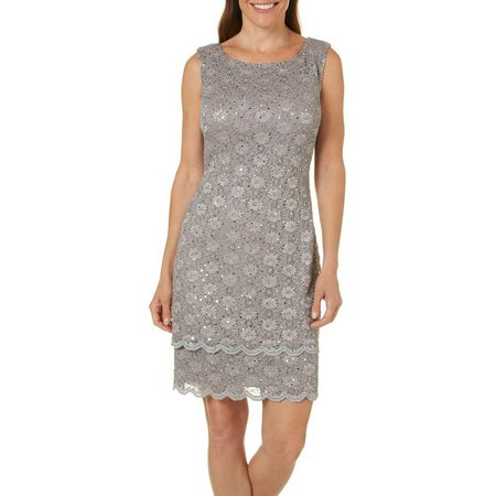 Connected Apparel Womens Sequin Lace Scallop Hem Dress