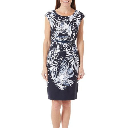 Connected Apparel Womens Tropical Leaf Print Dress