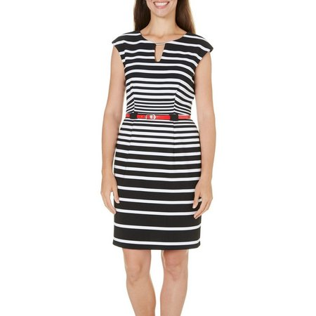 Connected Apparel Womens Striped Sheath Dress