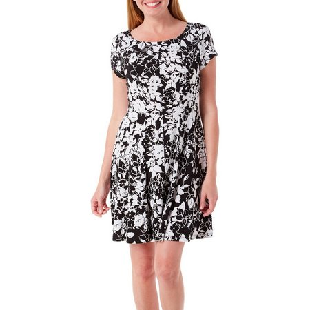 Connected Apparel Womens Floral Print Panel Dress