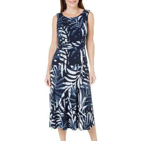 Connected Apparel Womens Tropical Print Dress