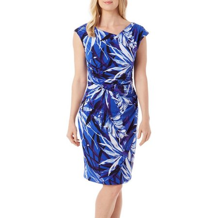 Connected Apparel Womens Palm Printed Sheath Dress
