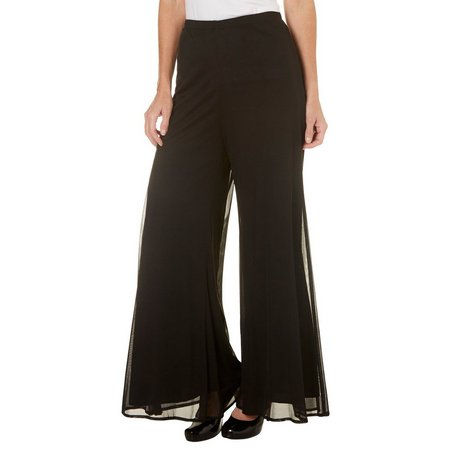 Connected Apparel Womens Sheer Woven Wide Leg Pants