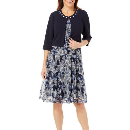Perceptions Women 2-pc. Beaded Jacket & Printed Lace