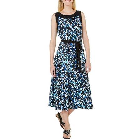 Perceptions Womens Chevron Print Tie Waist Dress