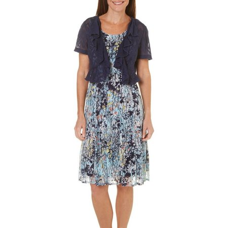 Perceptions Womens 2-pc. Jacket Floral Lace Dress