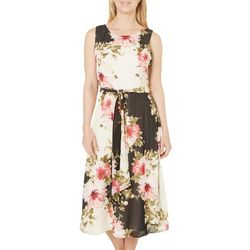 Perceptions Womens Floral Sleveless Midi Dress