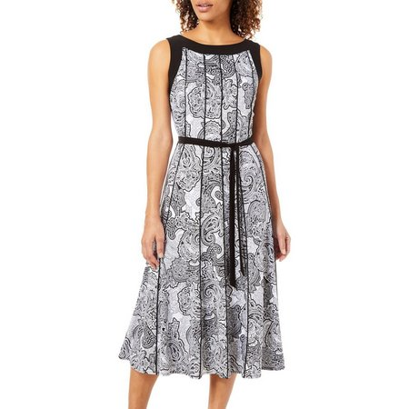 Perceptions Womens Paisley Print Tie Waist Sleeveless Dress