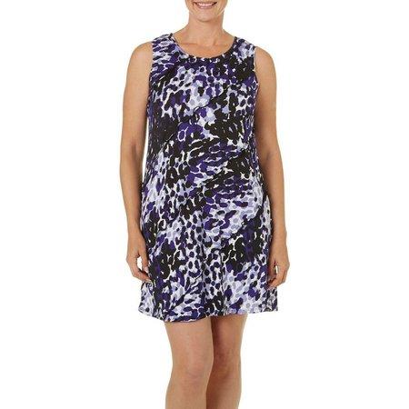 Perceptions Womens Tiered Leopard Print Dress