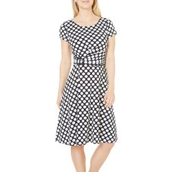 Perceptions Womens Polka Dot Side Buckle Dress