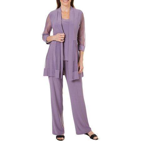 R & M Richards Womens 2-pc. Sheer Pantsuit