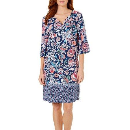Allison Brittney Womens Floral Print Shift Dress