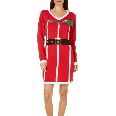 Allison Brittney Womens Mrs. Clause Sweater Dress