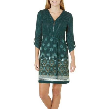 Allison Brittney Womens Dots Border Print Dress